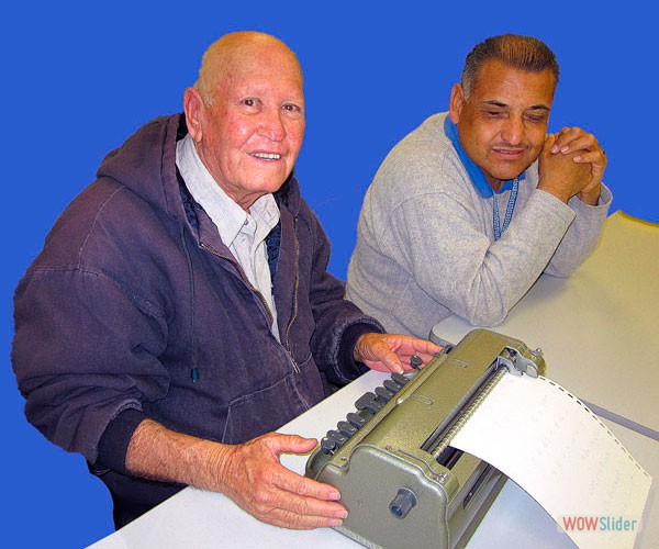Ramiro is learning how to type Braille on a Perkins Braille Typewriter.