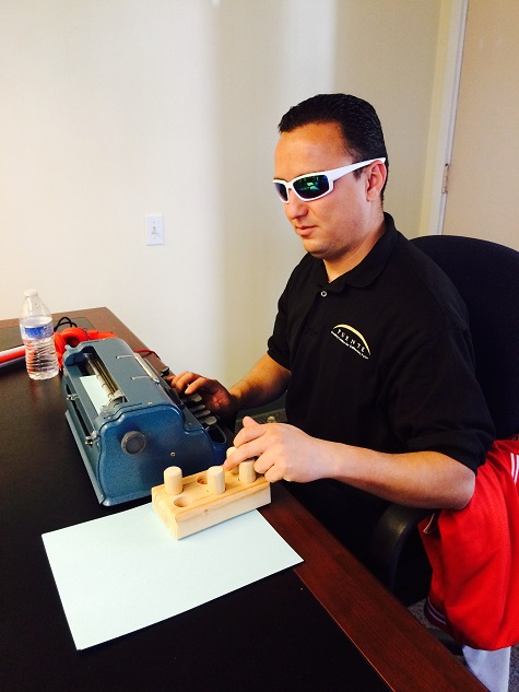 We use Perkins Braille typewriters and Braille blocks to teach Braille at BSS.
