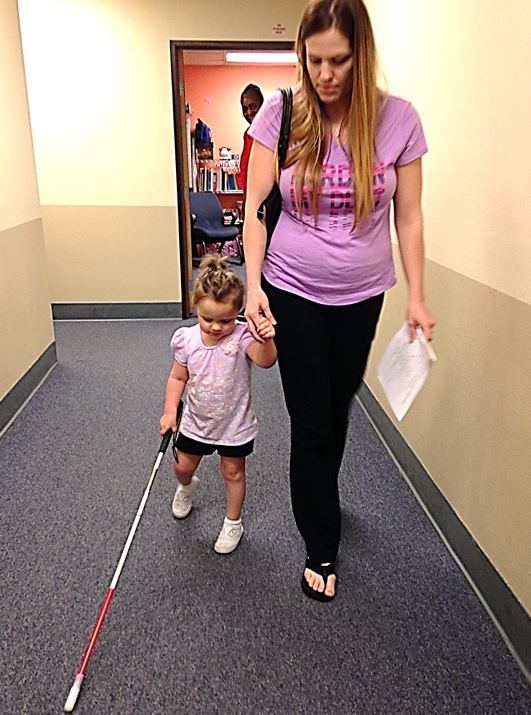 A mother and her blind pre schooler at BSS