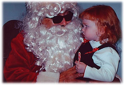 Blind Santa with a child