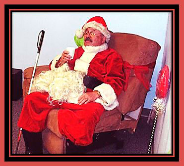 Blind Santa Charles Nebarrete taking a break