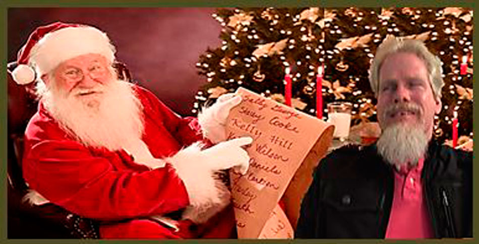 Santa pointing to a list where Kelly Hill's name is written along with Kelly sitting next to Santa