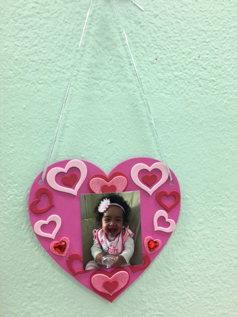 A tactile valentine with hearts and a personal picture
