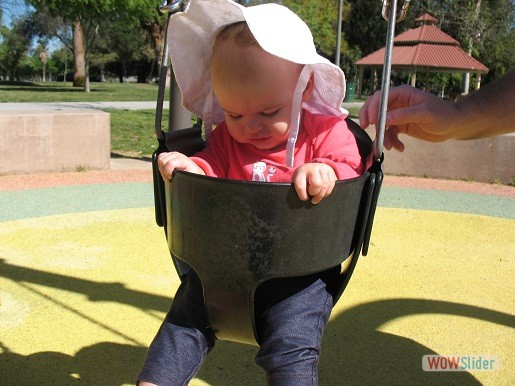 a baby sitting in the swing