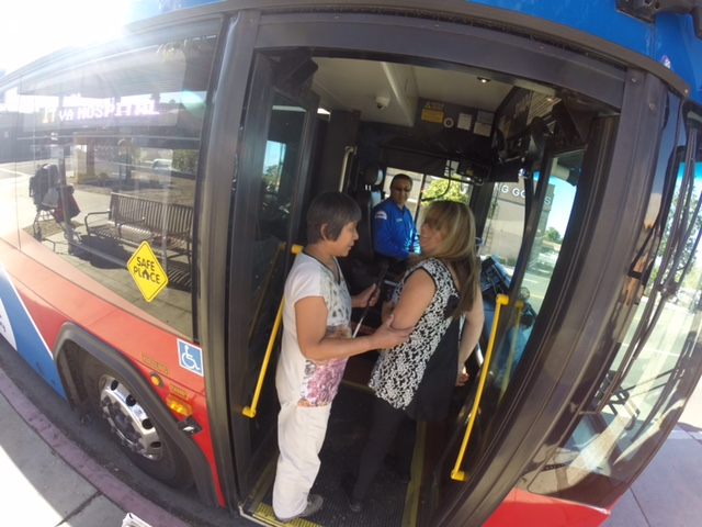 We are boarding the bus with Priscilla our Travel Training Instructor
