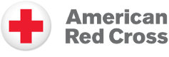 the american red cross logo, a red cross in a withe circle with the words amemrican red cross next to it