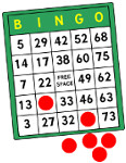 a bingo card with red circular bingo markers around it