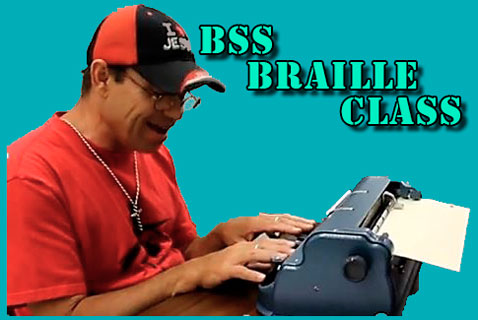 A person writing on a Braille typewriter with a caption that says BSS Braille class